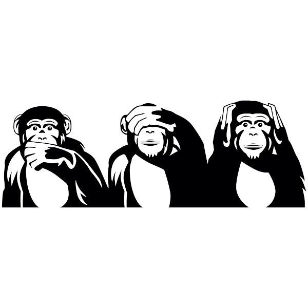 Stickers muraux: Chimpanzés triptyque