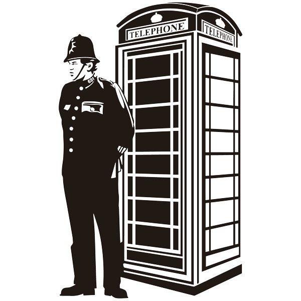 Stickers muraux: Londres cabine et garde britannique