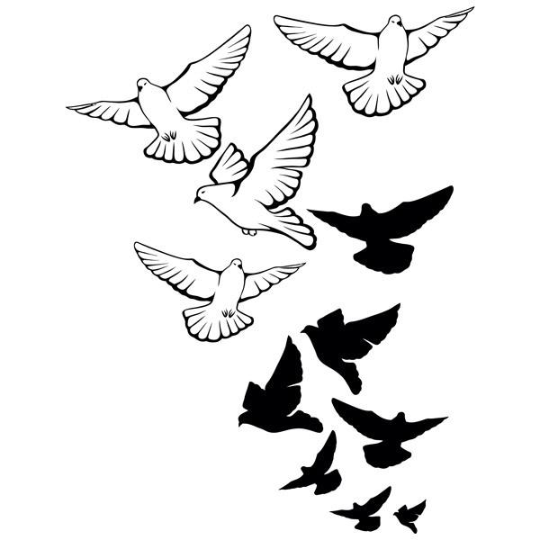 Stickers muraux: Troupeau de pigeons
