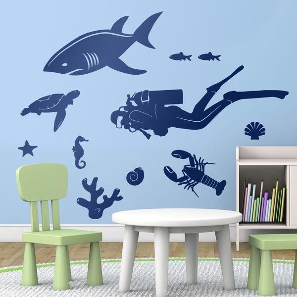 Stickers pour enfants: Kit Soyez bas plongée sous-marine