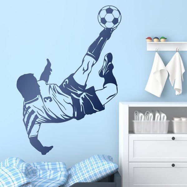 Stickers muraux: Joueur de football faisant une Bicyclette