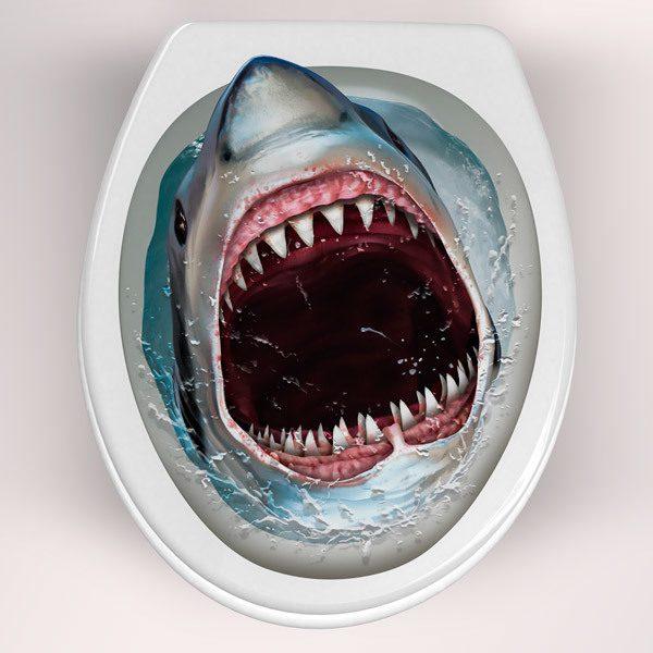 Stickers muraux: Requin qui sort de la cuvette des toilettes
