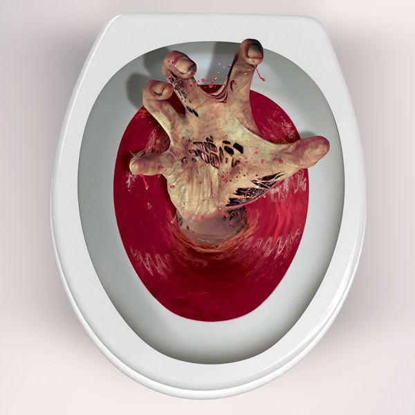 Stickers muraux: Zombie main sortant des toilettes