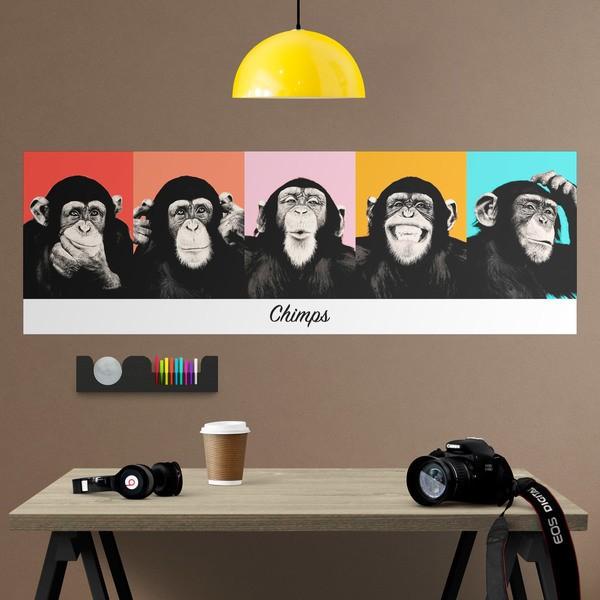 Stickers muraux: Poster adhésif 5 Chimpanzés