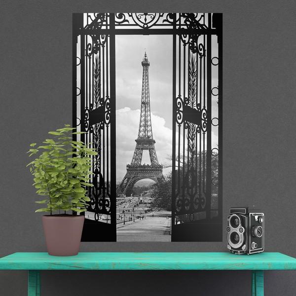 Stickers muraux: Poster adhésif porte et tour Eiffel