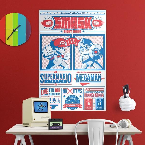 Stickers muraux: Poster adhésif Mario Bros vs Megaman