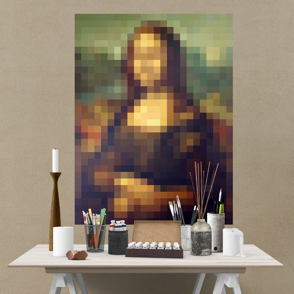 Stickers muraux: Poster adhésif Mona Lisa Gioconda Pixel