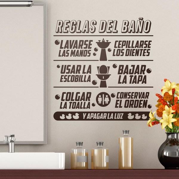 Stickers muraux: Règles de salle de bain en espagnol