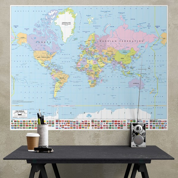 Stickers muraux: Poster adhésif Carte du monde avec drapeaux