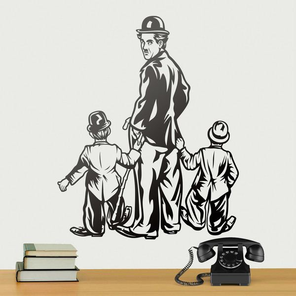 Stickers muraux: Charles Chaplin avec deux enfants