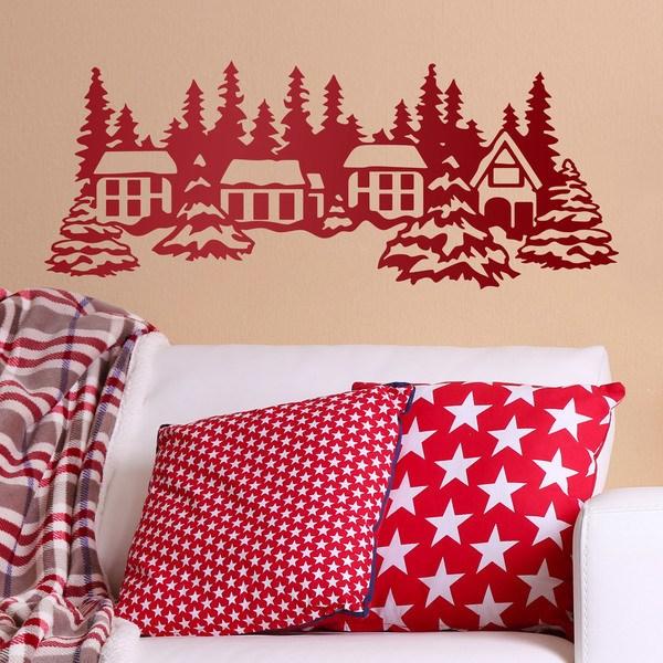 Stickers muraux: Paysage de neige avec des maisons et des arbres