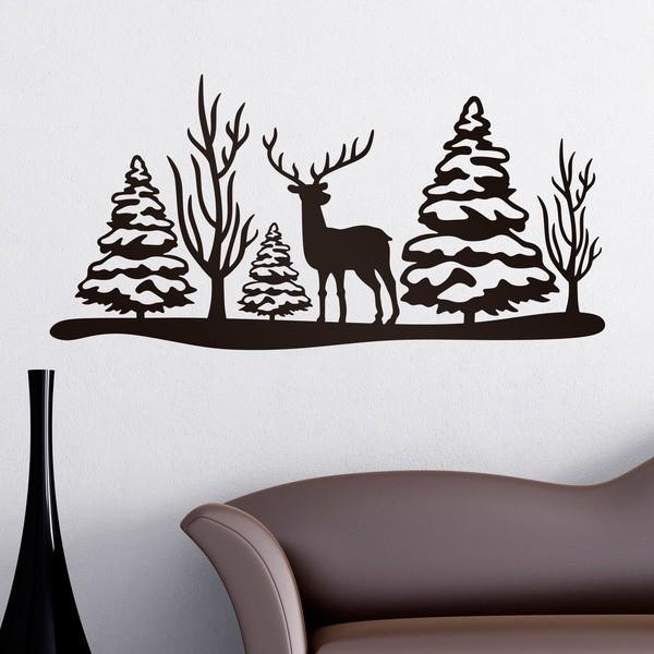 Stickers muraux: Noël paysage cerfs et des arbres
