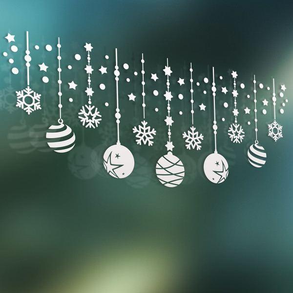 Stickers muraux: Composition de Noël de boules et étoiles