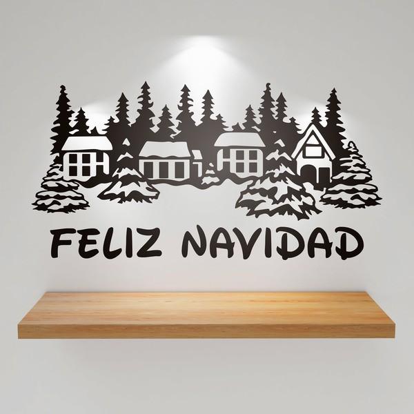 Stickers muraux: Maisons couvertes de neige et Merry Christmas 1