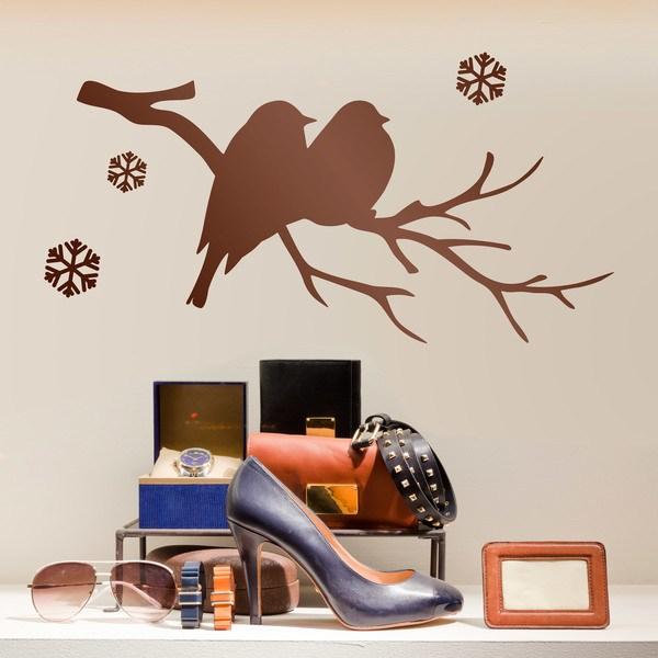 Stickers muraux: Oiseaux sur la branche et la neige