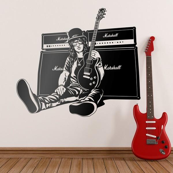Stickers muraux: Slash, guitare et haut-parleurs