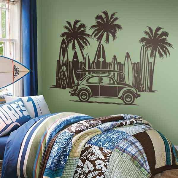 Stickers muraux: Volkswagen, planches de surf et palmiers
