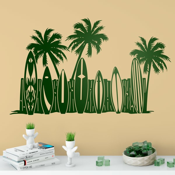Stickers muraux: Des arbres et des planches de surf sur la plage de