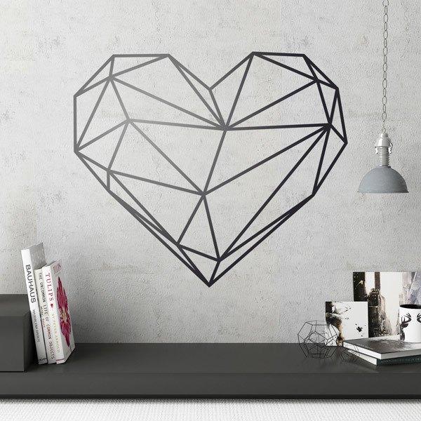 Stickers muraux: Coeur origami géométrique
