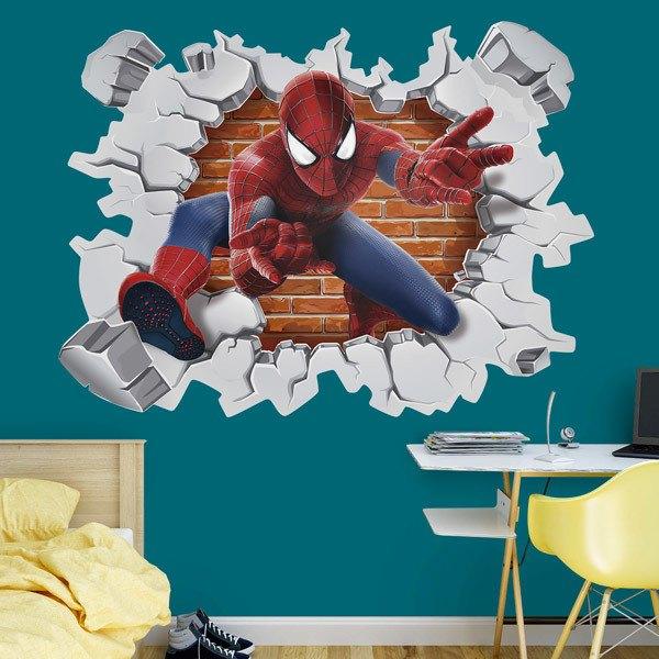 Stickers pour enfants: Trou dans le mur Spiderman