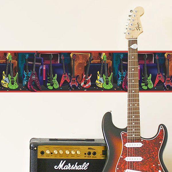 Stickers muraux: Frise murale Guitares