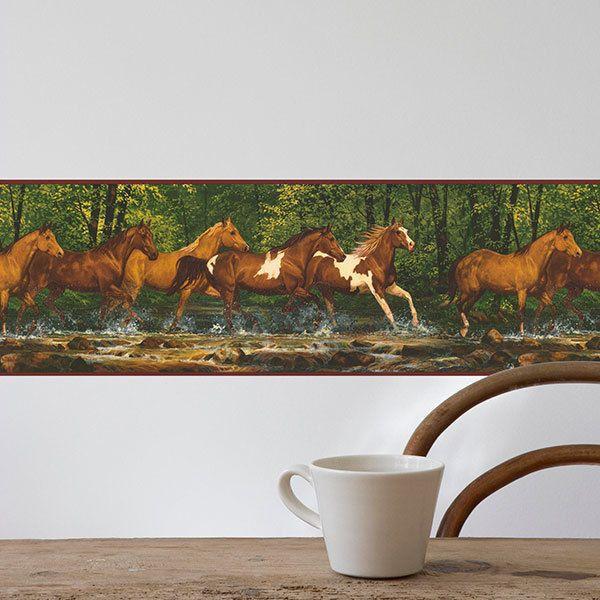 Stickers muraux: Frise murale chevaux