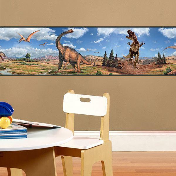 Stickers pour enfants: Frise murale dinosaures