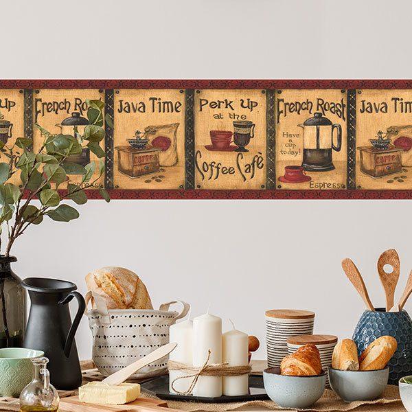 Stickers muraux: Frise murale café