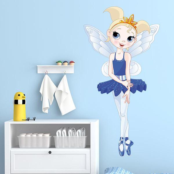 Stickers pour enfants: Fée Danseuse Bleu