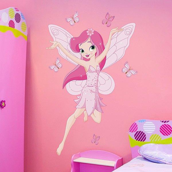 Stickers pour enfants: Fée Rose et papillons