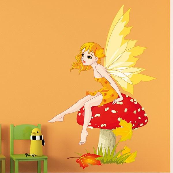 Stickers pour enfants: Fée Assise sur le champignon