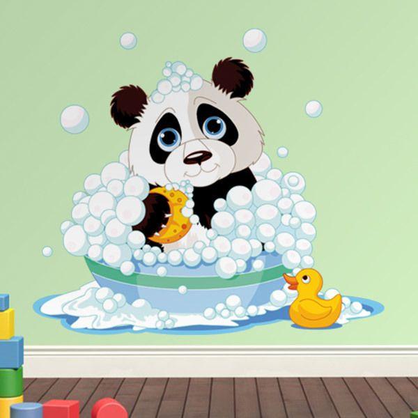 Stickers pour enfants: Panda dans la baignoire