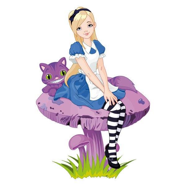 Stickers pour enfants: Fille et le chat sur un champignon