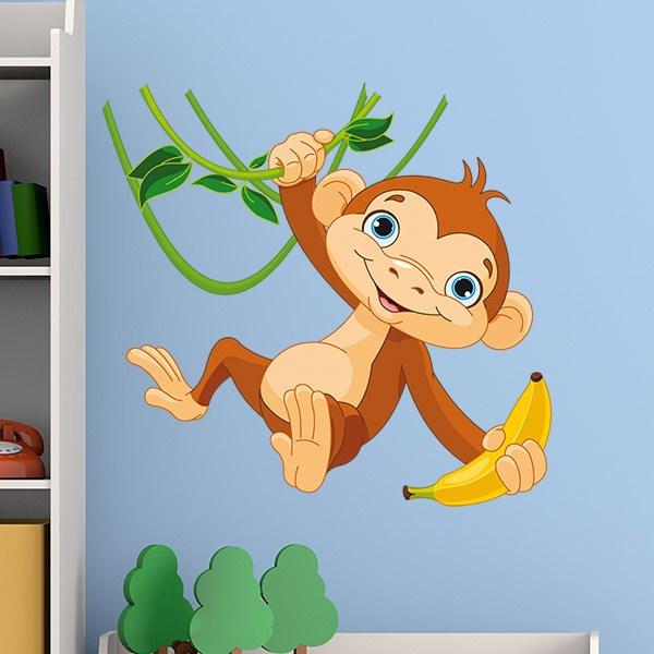 Stickers pour enfants: Singe avec la banane sur la branche
