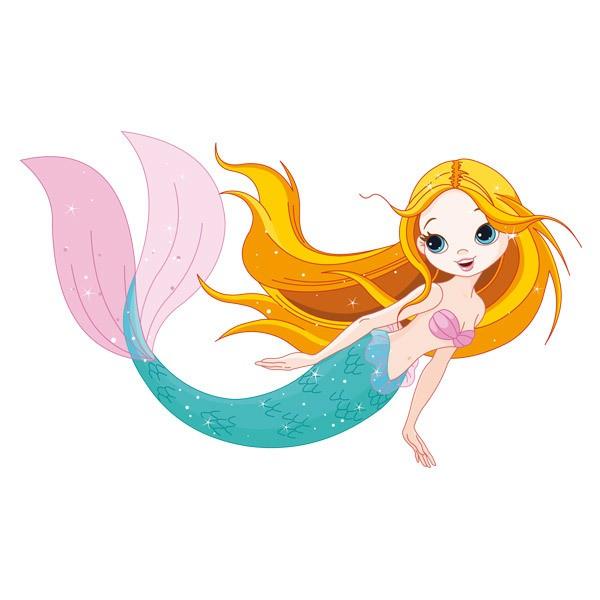 Stickers pour enfants: Sirène nage