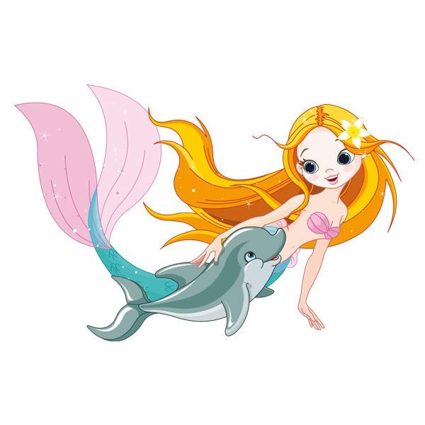 Stickers pour enfants: Mermaid et des dauphins nager