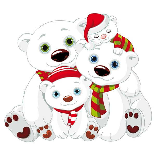 Stickers pour enfants: Ours blanc famille