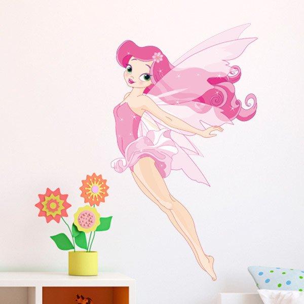 Stickers pour enfants: Fée volante rose