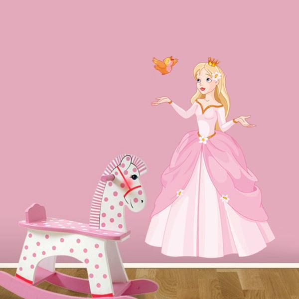 Stickers pour enfants: Princesse et petit oiseau