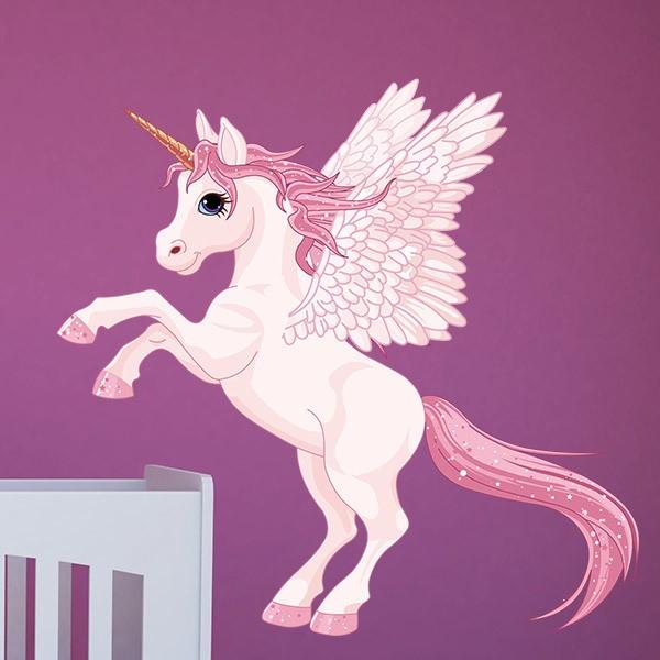 Stickers pour enfants: Unicorn avec des ailes roses