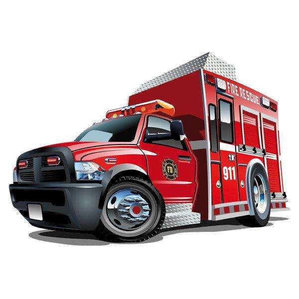 Stickers pour enfants: Camion de pompier de sauvetage