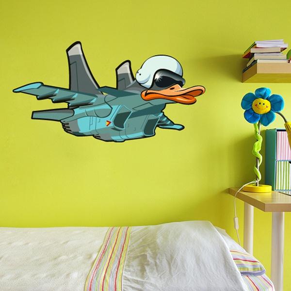 Stickers pour enfants: Avion de canard à tête