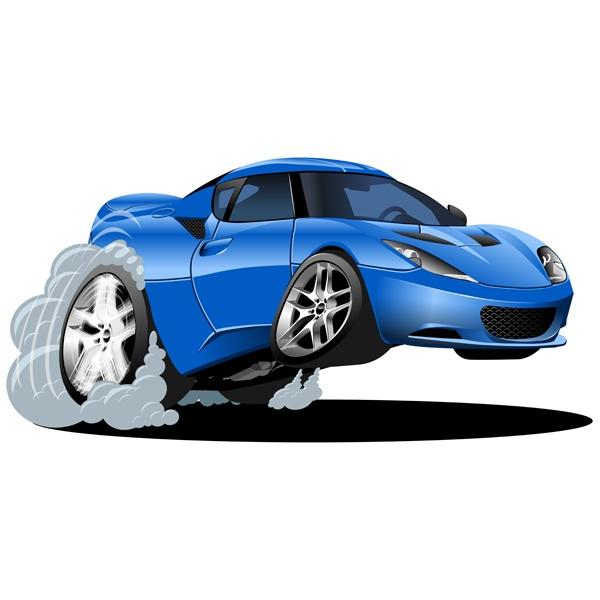 Stickers pour enfants: Blue car excès de vitesse