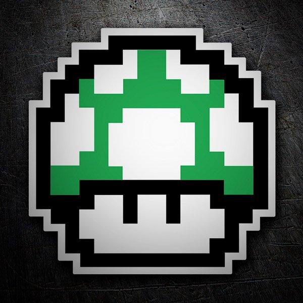 Autocollants: Mario Bros Champignon Vert Pixel