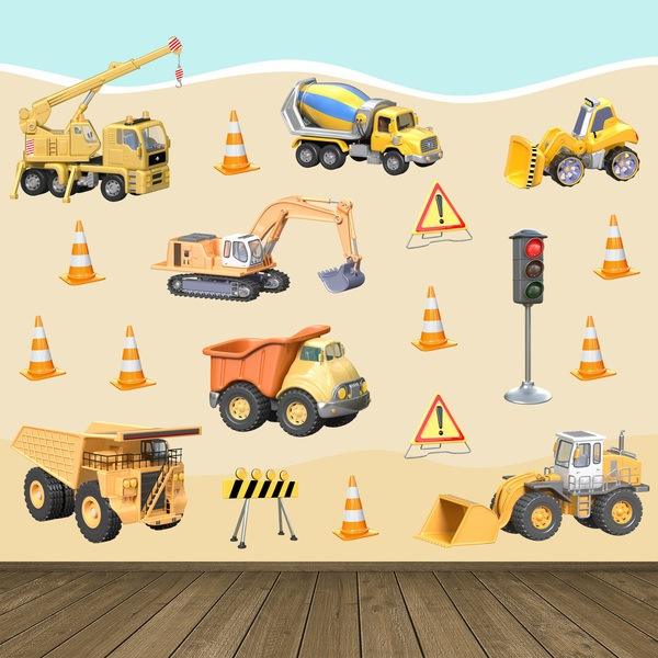 Stickers pour enfants: Kit camions de construction