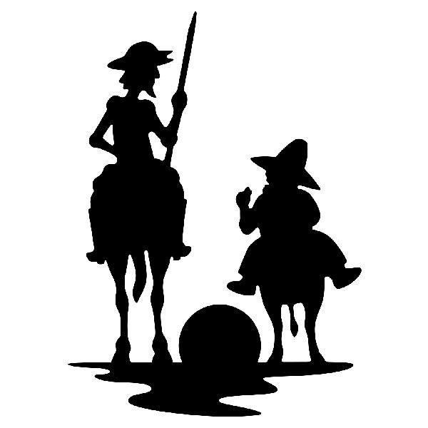 Autocollants: Don Quichotte et Sancho coucher de soleil