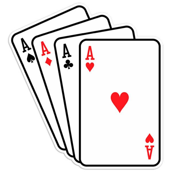 Autocollants: Poker d As cartes