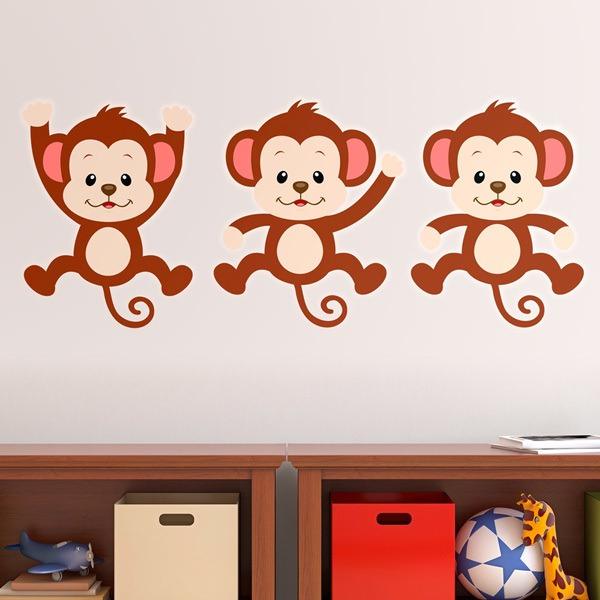 Stickers pour enfants: Kit 3 singes