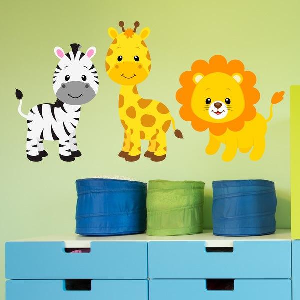 Stickers pour enfants: Safari zèbre, la girafe et le lion
