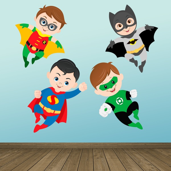 Stickers pour enfants: Kit Superheroes volants